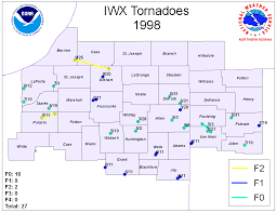 Indiana State Map Tornado Information Page