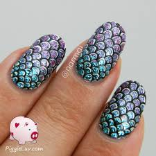 piggieluv mermaid scales nail art video tutorial