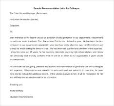 free sample of recommendation letter for coworker mediafoxstudio com
