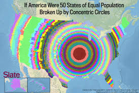 The Map Of America by If Every Us State Had The Same Population What Would The Map Of