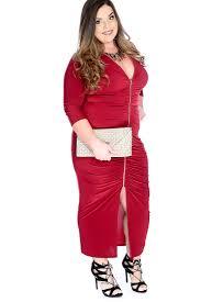 burgundy plus size ruched quarter sleeve cocktail dress