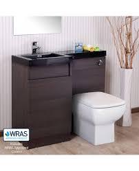 aston left hand dark oak bathroom white basin vanity unit wc