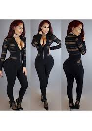 bodysuit jumpsuit black plain grenadine grid hollow out zipper bodysuit see through