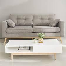 canapé maisons du monde canapé scandinave 3 places en tissu gris clair pas cher