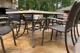 marquesas 7 piece all weather wicker and stone dining collection
