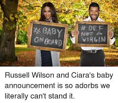 Baby Announcement Meme - virgin russell wilson and ciara s baby announcement is so adorbs we