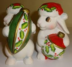 fitz u0026 floyd christmas bunny blooms salt and pepper shakers from