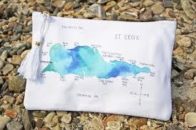Map Of St Croix St Croix Watercolor Island Map Canvas Tassel Pouchette