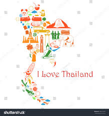 World Map Thailand by Map Thailand Thai Symbols Form Map Stock Vector 263514740