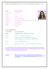Sample Pdf Resume by Bio Resume Format Sample Resume Bio Data Gopitch Co Business You