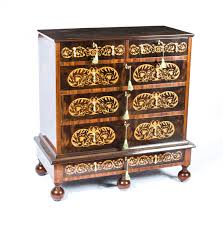 Queen Anne Style by Queen Anne Style Walnut Marquetry Chest Drawers
