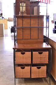 Wood Bakers Racks Furniture Cute Kitchen Bakers Racks Come With Black Metal Kitchen Bakers