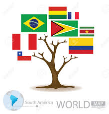 tree design countries in south america flag world map vector