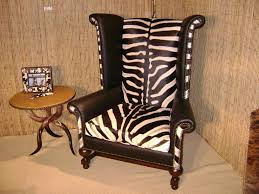 furniture fabulous zebra print leather wingback chair with side