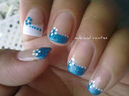 aqua sparkle tips with flowers nail art pinterest aqua