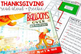 thanksgiving read aloud freebie balloons broadway