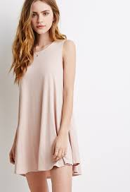 forever 21 stretch knit trapeze dress in pink lyst