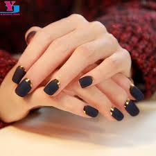online shop high quality 24ps matte black fake nails short design