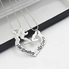 couple necklace images Her buck his doe couple necklace animal hug jpg