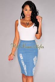 miami styles denim ripped knee length skirt