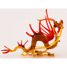 glass chinese dragon yellow red figurine