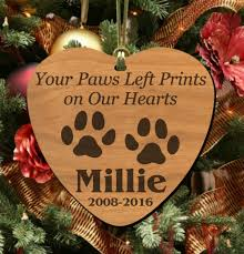 our hearts personalized pet memorial ornament wooden keepsake for