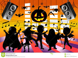 halloween background music royalty free download silhouette kids dancing halloween party stock vector image 44237561