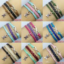 infinity charm leather bracelet images 2018 infinity hope cancer ribbon charm wrap bracelets wax cords jpg