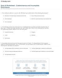 quiz u0026 worksheet codominance and incomplete dominance study com
