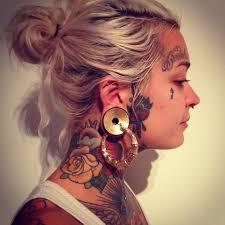 pretty single rose neck tattoo for girls