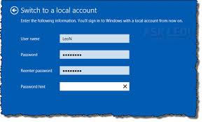 reset windows 8 password hotmail how do i go back to a regular account after updating to windows 8 1