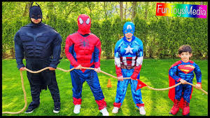 Superhero Family Halloween Costumes Super Hero Children U0027s Game Tug Of War With Bad Superman Family