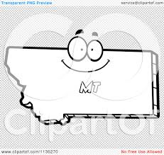 cartoon clipart of an outlined happy montana state character