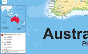 Physical Map Of Australia Australia Physical Map Paper Laminated A1 Size 59 4 X 84 1 Cm