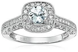 aquamarine and diamond ring 14k white gold aquamarine and diamond ring 1 4 cttw