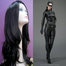 get this long black wig to make the perfect catwoman wig costume
