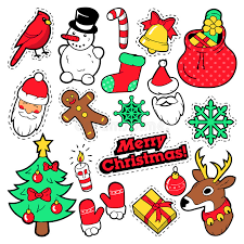 merry christmas badges patches stickers santa claus snowman