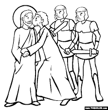 betrayal of christ kiss of judas coloring page bible class