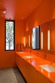 bathroom design luxury bright orange color bathroom interior