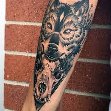 Forearm Wolf - 70 wolf skull designs for masculine ink ideas