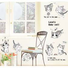 Wall Stickers Cats Cute Anime Cats Wall Decal Wall Art Decals Vinyl Wall Stickers