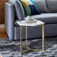 Hexagon Side Table Hex Side Table Antique Brass West Elm