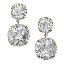 bridal drop earrings cushion cut bridal drop earring