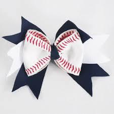 baseball ribbon american leather baseball hair bow