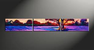 3 piece purple landscape tree oil paintings canvas wall art
