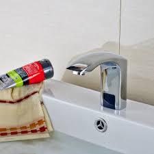 deck mounted polished chrome bathroom faucet automatic sensor cold