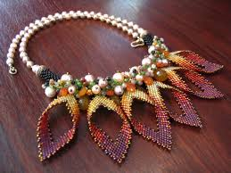 this necklace made the flower petal by glass beads form japan with
