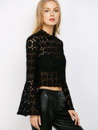 bell sleeve sheer lace crop top black blouses s zaful
