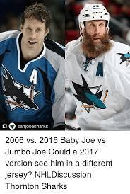 San Jose Sharks Meme - ti sanjose sharks 2006 vs 2016 baby joe vs jumbo joe could a 2017
