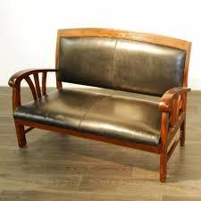canape teck canapé sofa teck et croûte de cuir 2 places